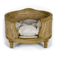 Luxury dog bed - George - Webbing - Linen Ecru - Burnt Oak - Lord Lou