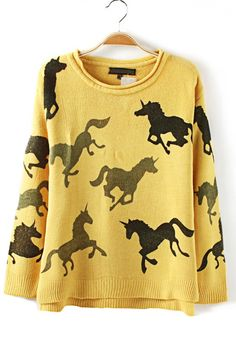 Yellow Horses Print Round Neck Synthetic Fiber Pullover