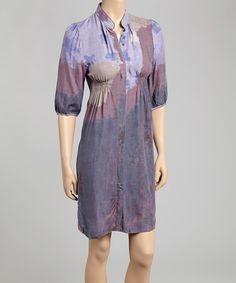 Look at this #zulilyfind! Navy Mosaic V-Neck Dress #zulilyfinds
