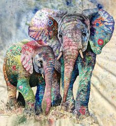 Multi bright mama and calf textile art - Sophie Standing Elephant Quilt, Elephant Love, Elephant Art, Thread Painting, Painting & Drawing, Thread Art, Painting Tips, Animal Quilts, Landscape Quilts