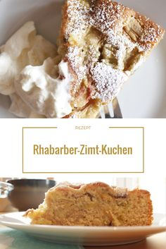 Rezept für einen lockeren Rhabarber-Zimt-Kuchen mit leckerer Vanille-Sahne  www.missvane.de