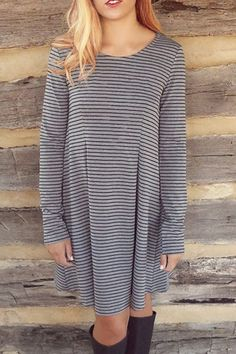 Striped Scoop Neck Long Sleeve Loose Dress