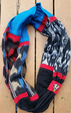 Infinity scarf made from Guatemalan fabrics and handmade button.