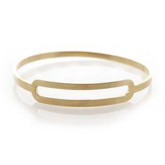 Dear Rae Jewellery | Slot shaped brass bangle. A thin flat brass bangle with a centered slot shape.