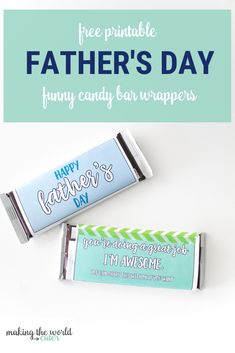 Father's Day Candy Bar Wrappers Easy and Funny Gift Idea Diy Father's Day Gifts Easy, Father's Day Diy, Happy Fathers Day, Fathers Day Gifts, Kids Gifts, Gifts For Dad, Funny Candy, Free Printable Gift Tags, Candy Bar Wrappers