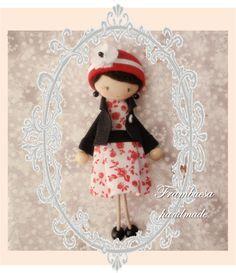 Prim. Rojo vestido Boche-colgante. Porta cadena de 70cm realizado a mano pvp 18 eurFrambuesa: Muñequitas