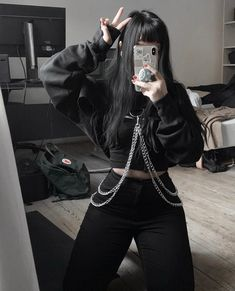 Find images and videos about girl, fashion and black on We Heart It - the app to get lost in what you love. Gothic Outfits, Emo Outfits, Korean Outfits, Cute Casual Outfits, Grunge Outfits, Egirl Fashion, Grunge Fashion, Korean Fashion, Fashion Outfits