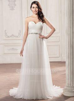 A-Linie/Princess-Linie Herzausschnitt Hof-schleppe Tüll Brautkleid mit Rüschen Perlen verziert Applikationen Spitze Pailletten (002058757)