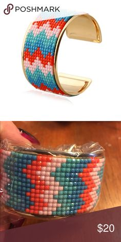 CUFF BRACELET CHEVRON design. Pretty colors. New in bag. Alloy and resin. 1 1/2 in WIDE Jewelry Bracelets