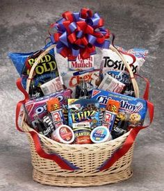 Coke and Snack Lover Basket from Arttowngifts.com... great idea for theme basket raffles!