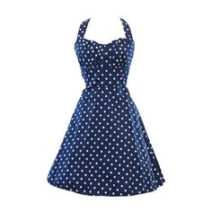 Rotita Navy Blue Polka Dot Print Halter A Line Dress ($25) ❤ liked on Polyvore featuring dresses, blue, vintage dresses, polka dot dress, halter top, blue dress and a line dress