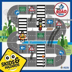 Safety Games For Kids, Road Safety Games, Road Safety Signs, Road Safety Poster, Driving Safety, Craft Activities For Kids, Road Sign Board, Board Games, Transportation