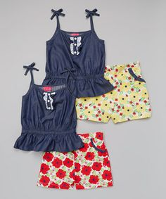 Love this Denim & Red Floral Tank & Shorts Set - Infant on #zulily! #zulilyfinds
