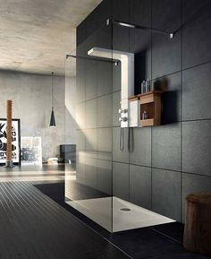 I love dark showers! Dark bathrooms in general are so pretty. They are sleek, and look like they are easy to decorate and keep looking lovely! Bad Inspiration, Bathroom Inspiration, Home Decor Inspiration, Modern Bathroom Design, Bathroom Interior Design, Interior Decorating, Bathroom Designs, Decorating Ideas, Decor Ideas