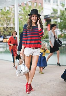"""Be Comfy. Be Cute. Mix Girly with Tom-boy. Get the look: Strappy Sandals, Cut-off Jean Shorts, Bold Color-Block Loose Sweater Top, Loose Waves, and top it off with a Boyish Hat. --Look from Glamour's Spring 2012 """"Must Have Trends""""   http://www.glamour.com/fashion/2012/03/the-best-new-spring-accessories#slide=49  #TXST #SMTX #Fashion"""