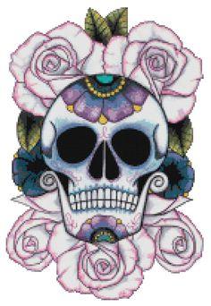 Cross Stitch Pattern SUGAR SKULL #6  Pdf File Only