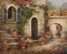 painting by Paul Guy Gantner Pintura Exterior, Italy Architecture, Bob Ross, Painted Doors, Pictures To Paint, Creative Art, Home Art, Landscape Paintings, Scenery