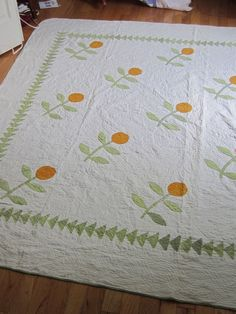 Beautiful Antique Orange Applique Quilt, Heavily Quilted, large , eBay, englishgarden10