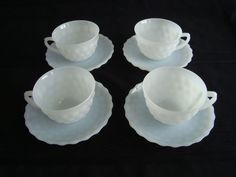 Set of 4 Fire King White Bubble Cups & Saucers in Mint Condition #FireKing