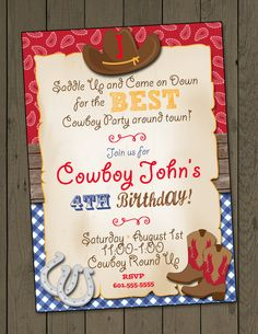 Cowboy Birthday Party Invitation Cowboy Invitation Digital Invitation by DaxyLuu on Etsy Más