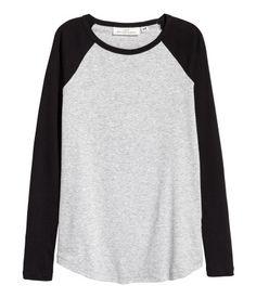 Jersey Top | Black/gray melange | Women | H&M US