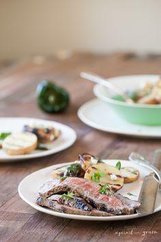 Grilled Flank Steak with Cilantro Balsamic Marinade - Danielle Walker's Against All Grain