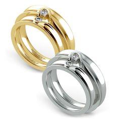 Matching #wedding ring set! Yellow Gold or White Gold?   www.brilliance.com/wedding-rings/matching-bezel-heart-concave-diamond-wedding-ring-set-yellow-gold