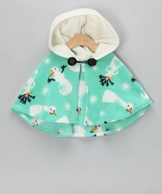 Take a look at this Sew Darn Quilt Mint Snowman Poncho - Infant, Toddler & Girls on zulily today! Toddler Fashion, Kids Fashion, Infant Toddler, Toddler Girls, Toddler Poncho, Girls Poncho, Poncho Outfit, Baby Girl Dress Patterns, Baby Dress