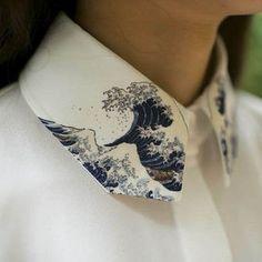 White shirt with printed art collar detail; sewing inspiration; creative fashion design detail // Purple Fish Bowl