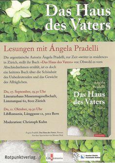 Volante promocional de las lecturas de Ángela Pradelli en Zúrich y Berna (septiembre-octubre 2012)