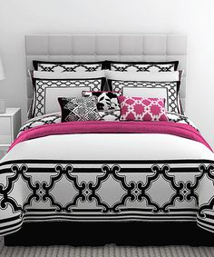 Pink, white & black bed set