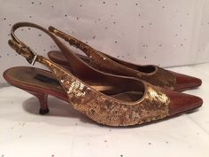 PRADA GOLD SEQUIN AND BROWN LEATHER SLINGBACK HEELS SANDALS SIZE 35.5 - 5.5 US #PRADA #Slingbacks