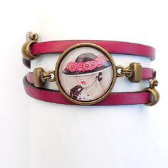 """Bracelet rétro cuir rose fonçé avec image """"la dame au chapeau"""""""