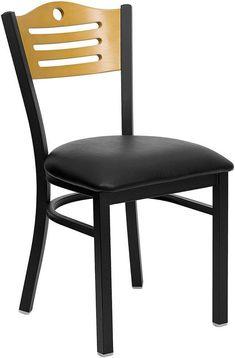 HERCULES Series Black Slat Back Metal Restaurant Chair with Natural Wood Back & Black Vinyl Seat XU-DG-6G7B-SLAT-BLKV-GG by Flash Furniture