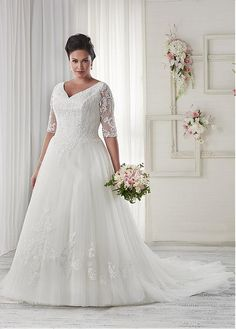 The award-winning Unforgettable collection of plus size wedding dresses by Bonny Bridal has been created with three essential elements in mind – style, romance and tradition. Bonny Bridal Wedding Dresses, Wedding Dress Train, Modest Wedding Dresses, Wedding Dress Styles, Bridal Gowns, Tulle Wedding, Formal Wedding, Bridesmaid Dresses, Plus Size Wedding Dresses With Sleeves