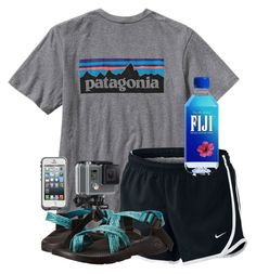 white water rafting  by sydneygrignon on Polyvore featuring polyvore, fashion, style, Patagonia, Chaco, LifeProof, GoPro, NIKE and clothing