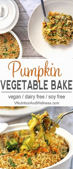 Pumpkin Vegetable Bake | This Pumpkin Vegetable Bake is a healthy vegan side dish for Thanksgiving or any time you want to impress! via @VNutritionist