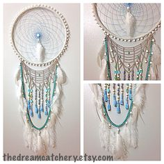 Handmade White Turquoise Blue Dream Catcher With Tassels