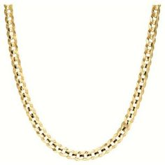 "Men's 14k Yellow Gold 6.9mm Italian Curb Chain Necklace, 20"" (Jewelry)"
