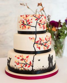 Autumn Leaves Silhouette Wedding Cake Photo by Polly and Simon Photography Wedding Cake Photos, Fall Wedding Cakes, Beautiful Wedding Cakes, Wedding Desserts, Wedding Ideas, Silhouette Wedding Cake, Leaf Silhouette, Red Velvet Wedding Cake, Velvet Cake