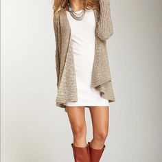 fall. boots dress and cardigan would be cute with black tights.