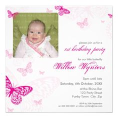 105 - PHOTO BIRTHDAY INVITES :: butterflies 1SQ