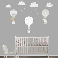 vinilos decorativos, habitación de bebé con litera, pared gris con vinilos de color como globos con conejos