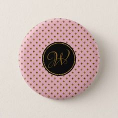 Girly Rose Gold Glitter Polka Dots Monogrammed Button - monogram gifts unique design style monogrammed diy cyo customize