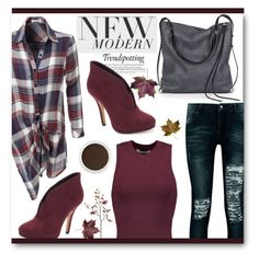 """Burgandy for fall"" by tanyaf1 ❤ liked on Polyvore featuring LE3NO, Boohoo, Melissa, Apt. 9, Ina Kent, T By Alexander Wang, Bare Escentuals and Crate and Barrel"
