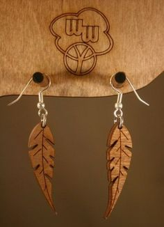Feather Earrings - wood ♥: