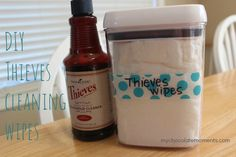 DIY cleaning wipes with Thieves cleaner