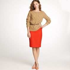 Pairing pencil skirt with sweater and a belt!  Great idea!
