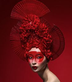 READY TO SHIP Geisha rose Avant garde Red fanned Asian inspired costume beaded Goddess Headdress princess queen Fantasy