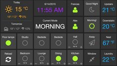 Home dashboard, showing interactive SmartThings modules, presence and Nest.
